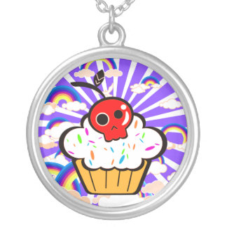 Skull Cherry Cupcake Rainbow Sky Silver Plated Necklace