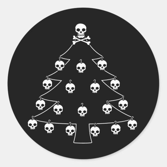 Skull Christmas Tree Classic Round Sticker