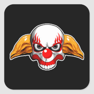 Skull Clown Square Sticker