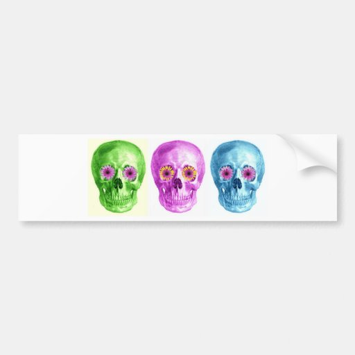 SKULL COLLAGE IN BRIGHTS WITH RETRO DAISY EYES BUMPER STICKER