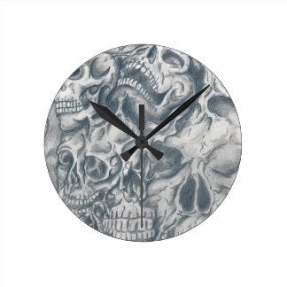 skull college round wall clock