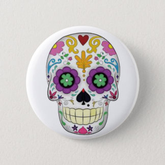 Skull colored with white fund pinback button