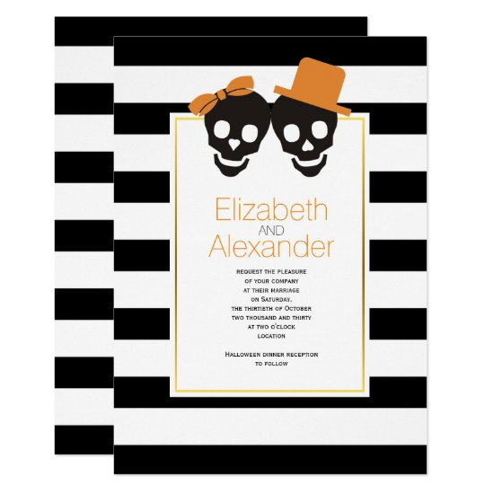 Skull couple black, white stripes Halloween orange Invitation