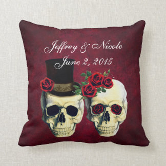 Skull Couple Bride and Groom Custom Wedding Throw Pillow
