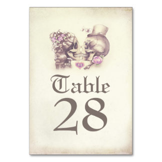 Skull Couple Day of Dead Wedding Table Numbers