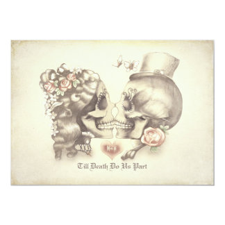 """Skull Couple Day of the Dead Engagement Party 5"""" X 7"""" Invitation Card"""