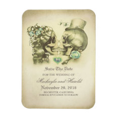 Skull Couple Day Of The Dead Save The Date Magnet at Zazzle