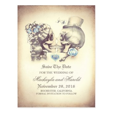 jinaiji Skull Couple Day of the Dead Save the Date Postcard