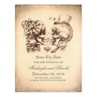 Skull Couple Day of the Dead Save the Date Postcard