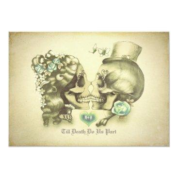 jinaiji Skull Couple Day of the Dead Wedding Invitations