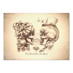 Skull Couple Day of the Dead Wedding Invitations 5