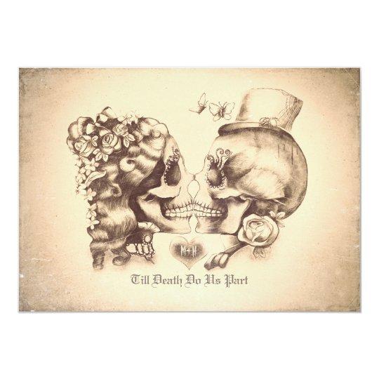 Skull Couple Day of the Dead Wedding Invitations Zazzle