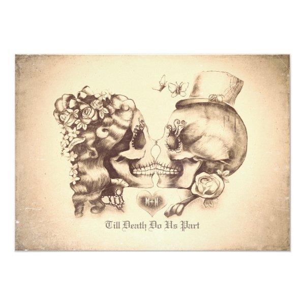 Skull Couple Day of the Dead Wedding Invitations