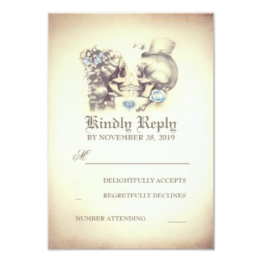 jinaiji Skull Couple Dead Day Wedding RSVP Cards