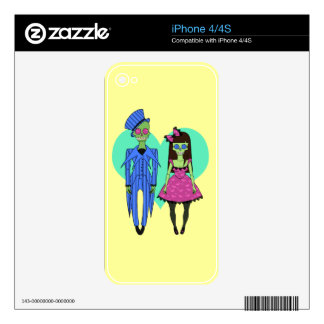 Skull Couple Decal For iPhone 4S