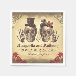 Skull couple Gothic wedding paper napkins