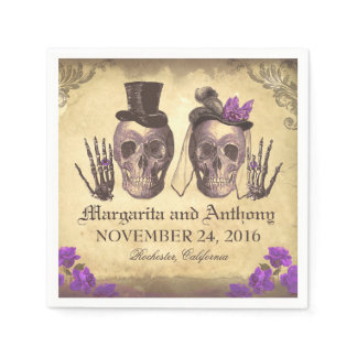 Skull couple Gothic wedding paper napkins