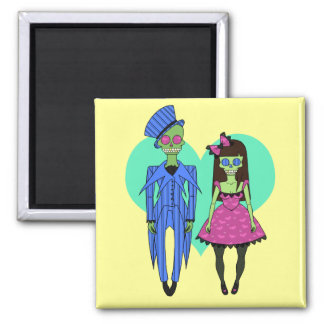 Skull Couple 2 Inch Square Magnet