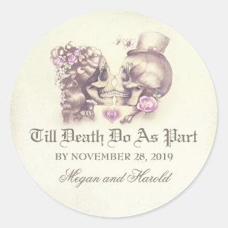 Skull couple purple wedding stickers