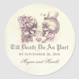 Skull couple purple wedding stickers