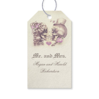 Skull Couple Vintage Purple Wedding Gift Tags