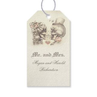 Skull Couple Vintage Wedding Gift Tags