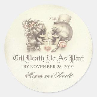 Skull couple wedding stickers