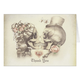 Skull couple wedding thank you cards