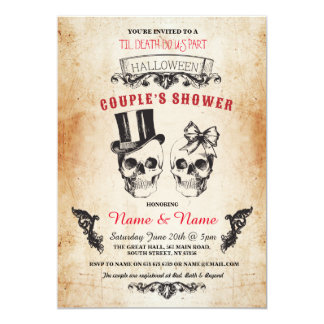 Skull Couples Shower Party Halloween Gothic Invite
