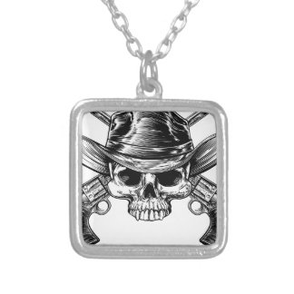Skull Cowboy and Guns Silver Plated Necklace