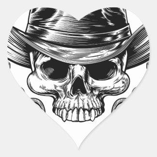 Skull Cowboy Hat and Guns Heart Sticker