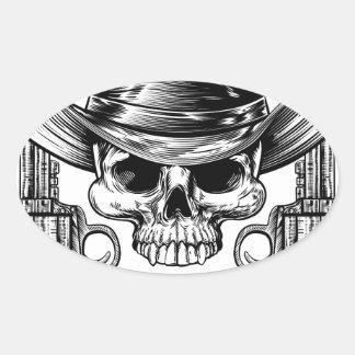 Skull Cowboy Hat and Guns Oval Sticker