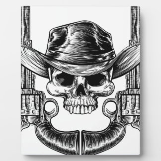 Skull Cowboy Hat and Guns Plaque