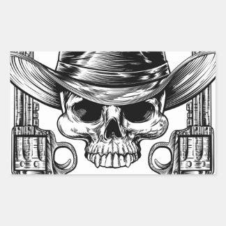 Skull Cowboy Hat and Guns Rectangular Sticker