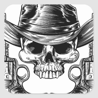 Skull Cowboy Hat and Guns Square Sticker