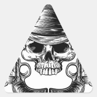 Skull Cowboy Hat and Guns Triangle Sticker