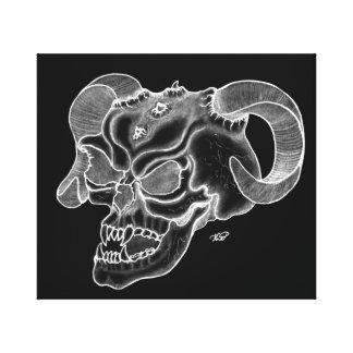 Skull cráneo de diablo negro sabe dibujo impresiones en lona