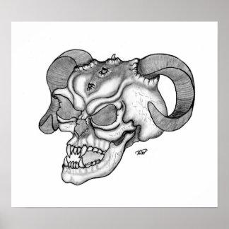 Skull cráneo de diablo negro sabe dibujo póster
