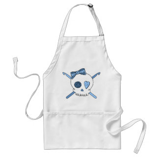 Skull & Crochet Hooks (Baby Blue) Adult Apron