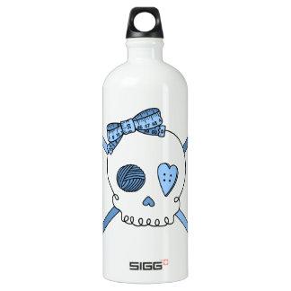 Skull & Crochet Hooks (Baby Blue) Aluminum Water Bottle