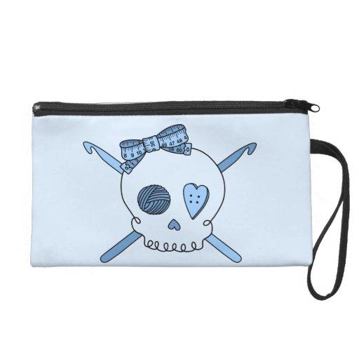 Skull & Crochet Hooks (Baby Blue Background) Wristlet Clutch