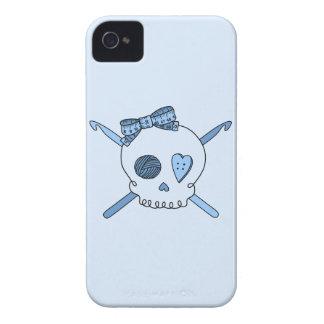 Skull & Crochet Hooks (Baby Blue Background) Case-Mate iPhone 4 Case