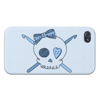 Skull & Crochet Hooks (Baby Blue Background) iPhone 4 Cover