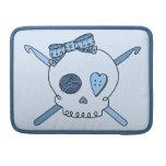 Skull & Crochet Hooks (Baby Blue Background) MacBook Pro Sleeves