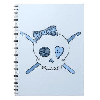 Skull & Crochet Hooks (Baby Blue Background) Notebook