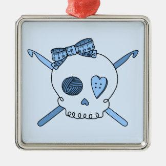 Skull & Crochet Hooks (Baby Blue Background) Square Metal Christmas Ornament