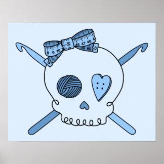 Skull Crochet Hooks Baby Blue Background Print