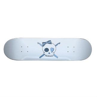Skull & Crochet Hooks (Baby Blue Background) Skateboard