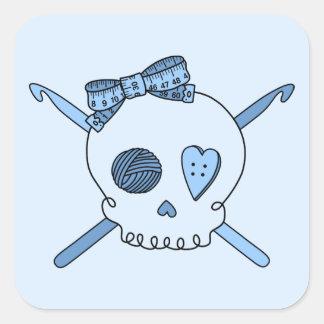Skull & Crochet Hooks (Baby Blue Background) Square Sticker