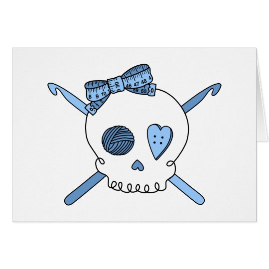 Skull & Crochet Hooks (Baby Blue) Card